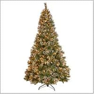 Christopher Knight Home 307333 7.5-Foot Mixed Spruce Pre-Lit LED or Unlit Hinged Artificial Christmas Tree with Snow and Glitter Branches with Frosted Pinecones, Green + Clear Lights