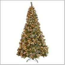 Christopher Knight Home 307333 7.5-Foot Mixed Spruce Pre-Lit LED or Unlit Hinged Artificial Christmas Tree with Snow and Glitter Branches with Frosted Pinecones