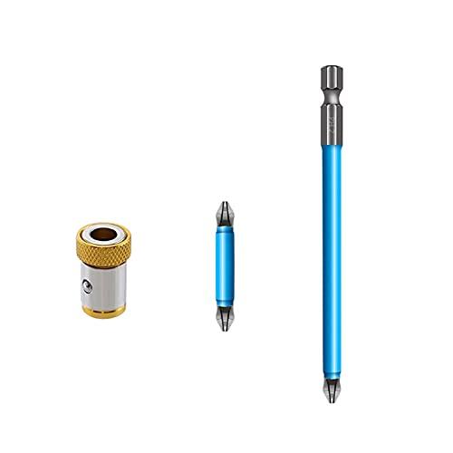 LAOLEE Multiusos Fuerte S2 Aleación Acero Cruz Bit con Magnético Azul Conjunto Herramientas Antideslizante Destornillador Cabeza Durable bits