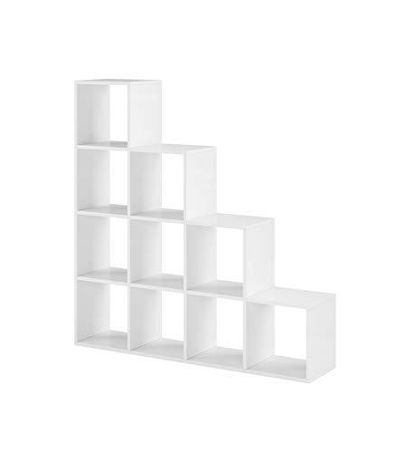 Treppenregal Raumteiler Stufenregal Weiß Matt Bücherregal Standregal Regal