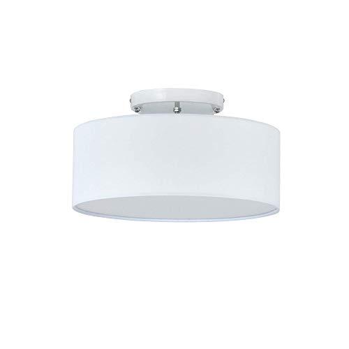Luz de techo, SPARKSOR Modern Fabric Colgante de luz de tela, Pantalla grande de tambor blanco, Lámpara colgante redonda, para sala de estar del dormitorio, cromo al ras, mate, 3 bombillas, E27