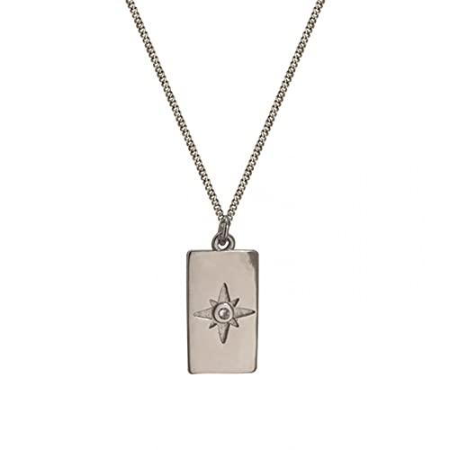 QiuYueShangMao La Estrella de Ocho Puntas con Micro Incrustaciones de diseñador de nicho es un Collar Colgante Cuadrado, Collar, Cadena de clavícula Minimalista de Estilo Europeo y Americano