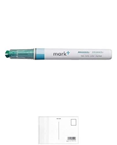 コクヨ 蛍光ペン 2トーンカラーマーカー マークタス カラータイプ グリーン PM-MT100G 【× 5 本 】 + 画材屋ドットコム ポストカードA