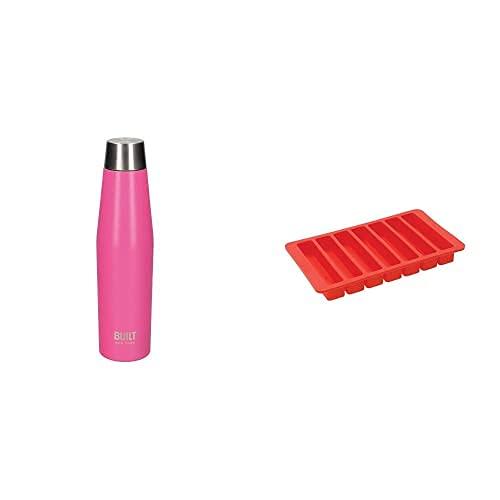 Built Perfect Seal Borraccia Isolata a Tenuta Stagna, Acciaio Inox, 540 ml + Vaschetta da Cubetti di Ghiaccio per Bottiglia dell'Acqua in Silicone Flessibile Privo di BPA, Rosso, 19.5 cm x 11.5 cm
