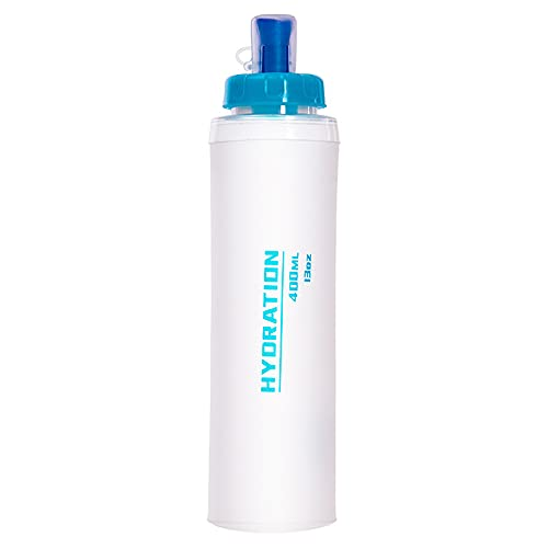 Botella de agua plegable Portátil de TPU Contenedor deportivo de viaje al aire libre 400ML Bolsa de agua suave para maratón Camping Senderismo