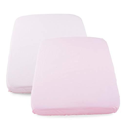 Chicco - Set di 2 lenzuola con angoli, 190 g, colore: Rosa a pois
