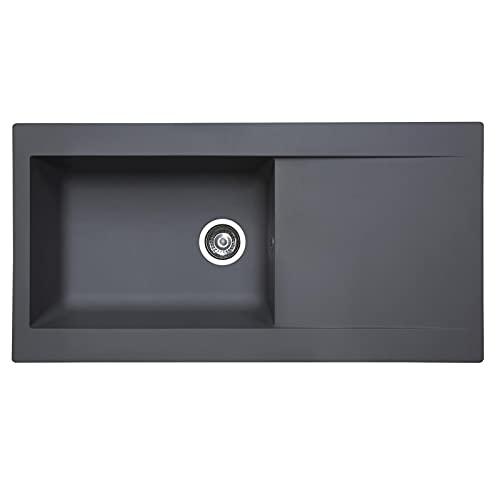 SIA DELTA10GR 1.0 Bowl Grey Composite Reversible Inset Kitchen Sink & 90mm Basket Strainer Waste Kit W1000 x D500
