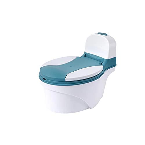 LZPYYDS Silla De Baño De Simulación De Entrenamiento De Inodoro De Plástico para Bebés Y Niños con Funda para Cepillo De Baño Gratis + Bolsa De Limpieza,Green
