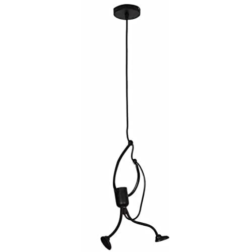 MeterBew1147 Iron Little Man Lampadario Cartoon Doll Lampadario Swing Villain Chandelier Lampada da soffitto a LED Home Living Room Decoration-Black Single-Headed Villain with Dis