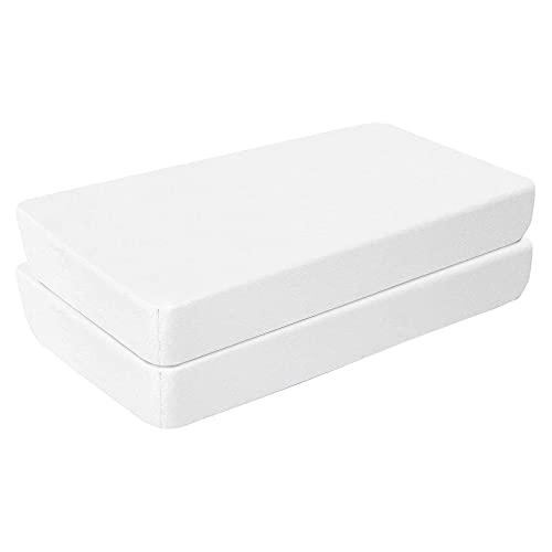 Aminata BALANCE Spannbettlaken 55x90 cm Baby Baumwolle Beistellbett 2er Set - Doppel-Pack - weiß weiß - mit Gummizug weiches Jersey-Strech für perfekte Passfom an den Ecken - Jungen & Mädchen