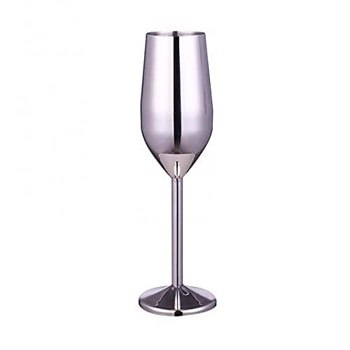 Beautify Copas de champán, creativo vino tinto de acero inoxidable cepillado, regalo para compromiso, boda, aniversario, Navidad (champán 220 ml, plata, 4 en un paquete)