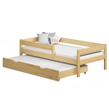 Children's Beds Home - Cama individual con nido - Mateo para niños niño niño niño menor - Mateo - 190x90, Natural, Colchón de espuma de 10 cm / fibra de coco