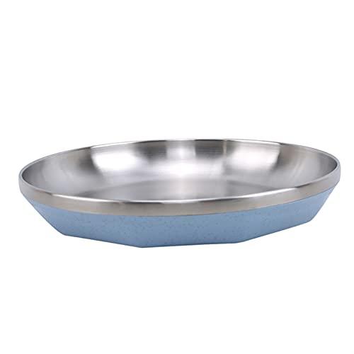 WYDMBH Plato de Cena Camping 20 cm Dia Acero Inoxidable Vajilla Cena Plato Contenedor Alimento Cocina Familia Vajilla (Color : Blue)