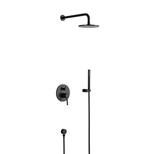 ZLININ Y-longhair - Ducha de cobre completa en la pared, color negro mate, baño caliente y frío incrustado oculto empotrado conjunto de ducha oculto hermoso y práctico