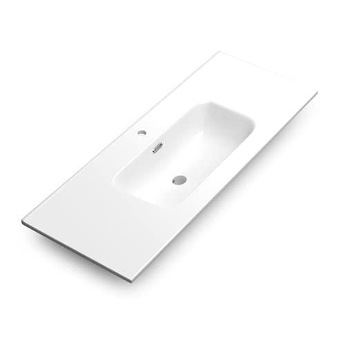 Lavabo Cerámico Baño Blanco   Pila Lavamanos Rectangular   Lavabo Integral 1 Seno Centrado 121.5 cm Ancho X 46.5cm Fondo   Rebosadero y Agujero de Grifo (120cm 1 Seno)