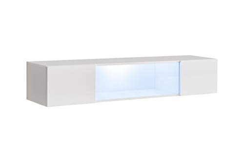 ASM FLY 52 - Vitrina flotante horizontal de 160 cm de ancho para puerta de cristal con luces LED, color blanco brillante