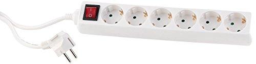 PEARL Mehrfachsteckerleiste: Schaltbare 6-Fach-Steckdosenleiste mit Kinderschutz, 160 cm, weiß (kindersichere Steckdosenleiste)