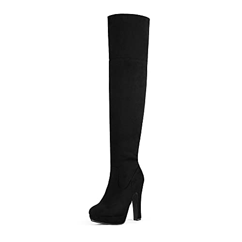 DREAM PAIRS Women's HIGHPLAT Black Chunky Thigh High Over The Knee High Heel Boots Size 9.5 B(M) US