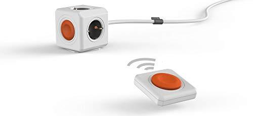 Power-Würfel Remote Extended, Set mit Power-Remote Fernbedienung, Steckdosenwürfel mit 4 Steckdosen und Fern-Schalter zum Stromsparen, Schreibtisch-Montage Kit und 1,5m Kabel, grau-weiß-orange