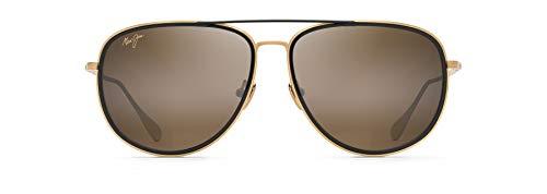 Maui Jim - anteojos de sol unisex para adulto, diseño de aviador, Oro mate con borde negro brillante/bronce Hcl polarizado, M