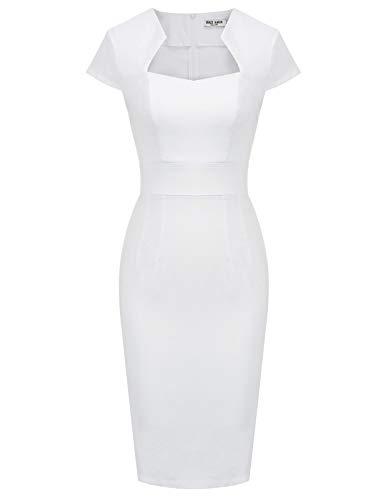 GRACE KARIN Stretch Kleider Damen sexy etuikleid 50er Jahre Kleid weiß Sommerkleid L CL8947-9