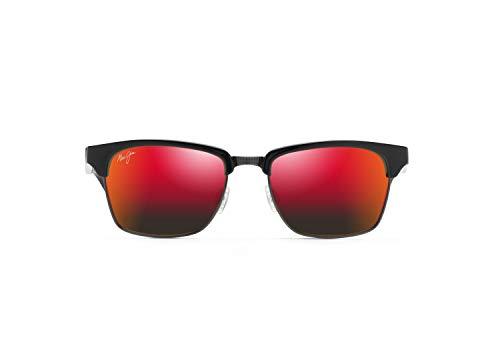 Maui Jim Kawika w/ Patented PolarizedPlus2 Lenses Polarized Fashion Sunglasses, Black Gloss W/Antique Pewter/Hawaii Lava Polarized, Medium