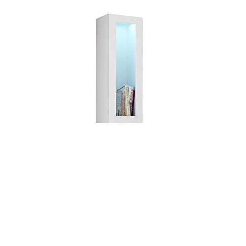 Furniture24 Hängevitrine Vigo, Horizontale oder Vertikale Montage, Hängeschrank, Wandschrank mit 1 Tür, Schrank, Wohnzimmerschrank, Grifflose, Push to Open (Weiß/Weiß Hochglanz, Ohne Beleuchtung)