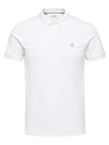 Selected Shdaro SS Embroidery Polo Noos, Hombre, Blanco (Bright White), Large