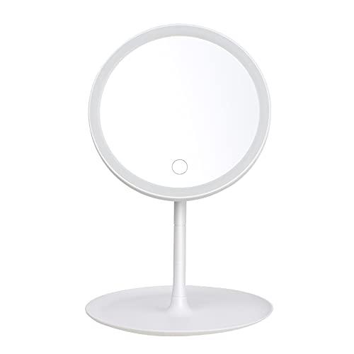 skrskr Miroir de Maquillage Rond reable avec Interrupteur d'écran Lumineux L-Ed Miroir de Maquillage de Bureau de Base Amovible