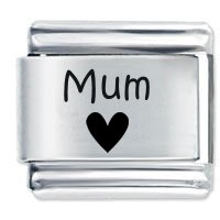 Mum Heart Etched Italian Charm Fits all 9mm Italian Style Charm Bracelets