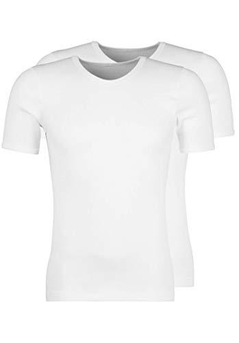 HUBER Herren Duo Line 2: 2 Rippe Shirt Kurzarm 2er Pack Unterhemd, Grün (Weiss 0500), X-Large (Herstellergröße: XL)
