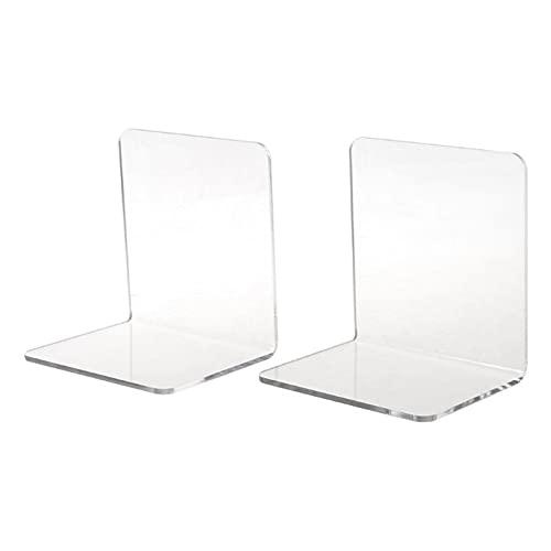 Sujetalibros Estanteria Disparadores para libros pesados, Clear Acrylic Sookends L-formado en forma de escritorio Organizador de escritorio Titular de libro de escritorio, 3.94 * 3.94 * 3.15in, 3mm, 1