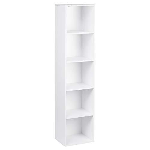 WOLTU SK003ws5 Bibliothèque casier à Livres en MDF,étagère de Rangement étagère de Bureau classeur avec 5 Compartiments 30x23,5x132,2cm,Blanc