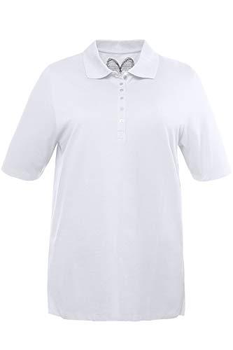 Ulla Popken Womens PoloPiquee Longsleeve T Shirt White Weiss 20 24