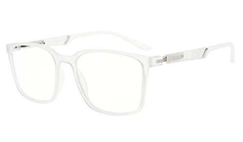 Eyekepper grandes lectores de marco bisagras especiales de primavera gafas de lectura hombres mujeres (Transparent, 0.75)