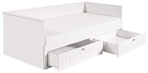 roba Tagesbett Dreamworld 3, zum Doppelbett ausziehbares Einzelbett in weiß mit 2 Schubladen f, Stauraum, ideal als Gästebett im Kinder- & Jugendzimmer