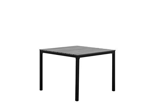 Beliani Moderner Gartentisch in Grau 95 x 95 cm Aluminium Kunstholz Prato