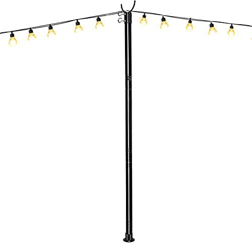 String Light Pole,10 FT Black Stainless Steel String Light Poles for Outside & 1.26 Inch Diameter Adjustable Poles for Outdoor String Lights, String Light Poles for Patio Lights Solar String Lights