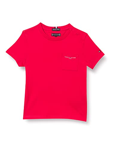 Tommy Hilfiger Essential Pocket tee S/S Camisa, Deep Crimson, 80 cm para Niños