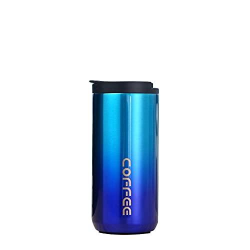 Taza de café de aislamiento QTER, reutilizable de doble capa, taza de viaje de acero inoxidable al vacío, con tapa a prueba de fugas, puede mantener caliente