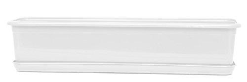 POKM Toolsmarket GmbH Jardinière de balcon Venus avec soucoupe Blanc 40 cm