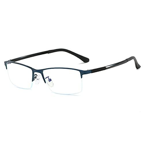 Hombres Mujeres Gafas De Lectura Multifocales Progresivas Gafas De Sol Fotocromáticas Ligeras Medio Marco Gafas De Lectura De Transición Retro Clásicas,Azul,+2.50