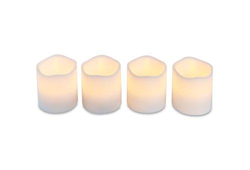Heitmann Deco 4er Set LED-Kerzen - Echtwachs-Kerzen mit Timer - weià - Advenskerzen - für innen - batteriebetrieben