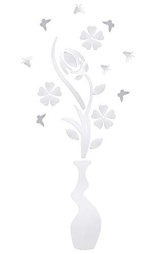 Specchio Adesivo da Parete Vaso, Acrilico 3D Murale a Specchio Decal Decorazione Wall Stickers per Arredamento Camera da Letto Bagno, Argento