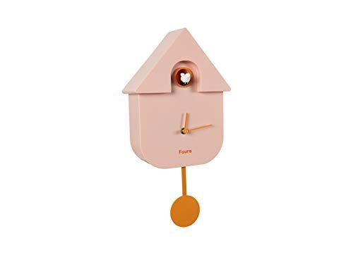 Fisura CL0931 Reloj Cuco Moderno de Pared con Pájaro con Forma de Casa | Reloj Cuco Minimalista con un Diseño Moderno, Color Rosa 21x8x40cm