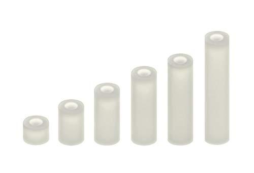 100 Abstandshalter M3 Distanzhülsen Distanz-Hülsen Kunststoff Nylon DistanzhülseO (Länge: 15mm)