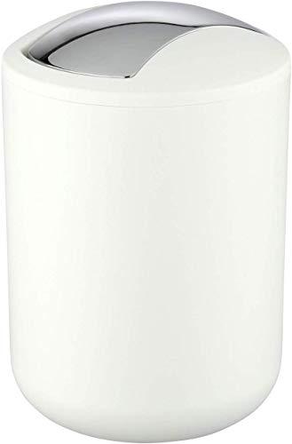 Wenko Kosmetikeimer Brasil S 2 Liter, Badezimmer-Mülleimer mit Schwingdeckel, kleiner Abfalleimer aus bruchsicherem Kunststoff, Ø 14 x 21 cm, weiß