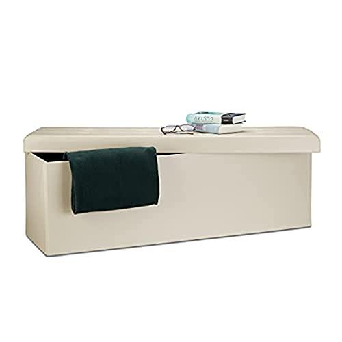 Relaxdays Banco plegable, Baúl de almacenaje, Cuero sintético, 38 x 114 x 38 cm, Crema