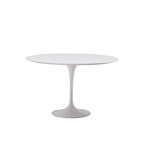Table Tulip Ronde cm 107 LAMINÉ Liquide Blanc Base Blanche