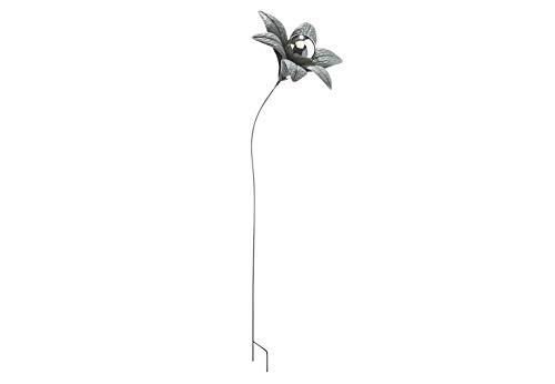 Kobolo Gartenstecker Dekostecker Blume Gray Flower aus Metall und Edelstahl H 115 cm